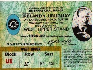 Ireland Uruguay 1986 ticket