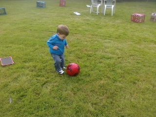 About to kick the ball