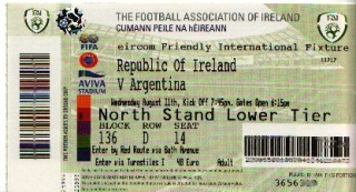 Ireland Argentina 2010 ticket