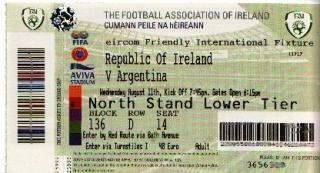 Ireland Argentina 2010 ticket